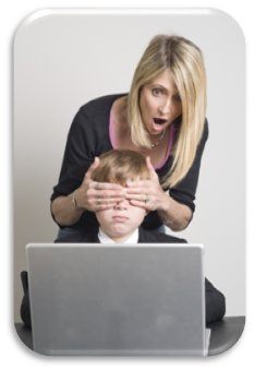 Mom covering eyes of child at laptop