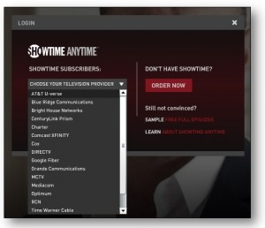 Showtime Anytime Provider Selection